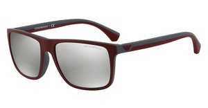 Emporio Armani EA4033 56166G LIGHT GREY MIRROR SILVERTOP BORDEAUX ON DK GREY RUBBER